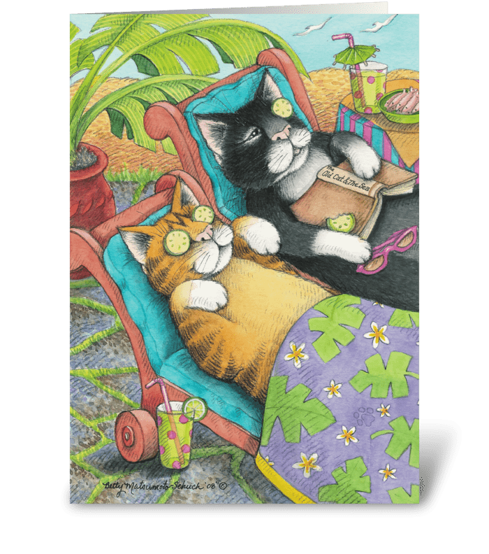 Spa Cats Birthday #28 greeting card