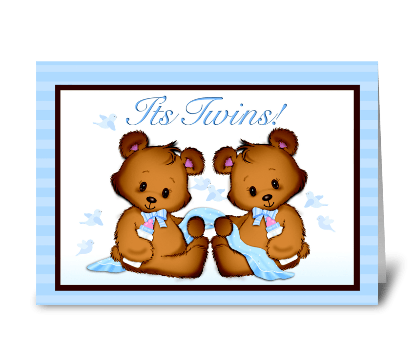 It's Twins! Baby Boys! greeting card