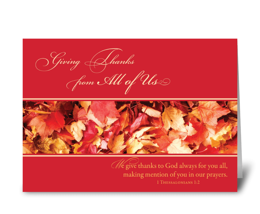 From All of Us Thanksgiving Leaves greeting card