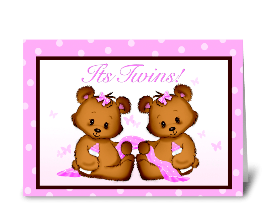 It's Twins! Baby Girls! greeting card