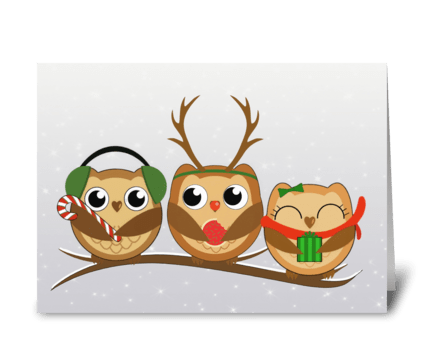 Three Christmas owls greeting card