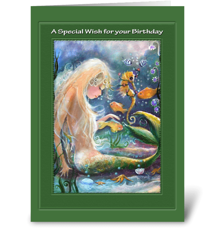 Mermaid Birthday Wish greeting card