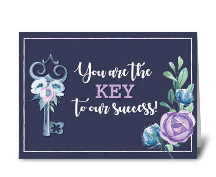 Admin Pro Day Key to Success Navy with F greeting card