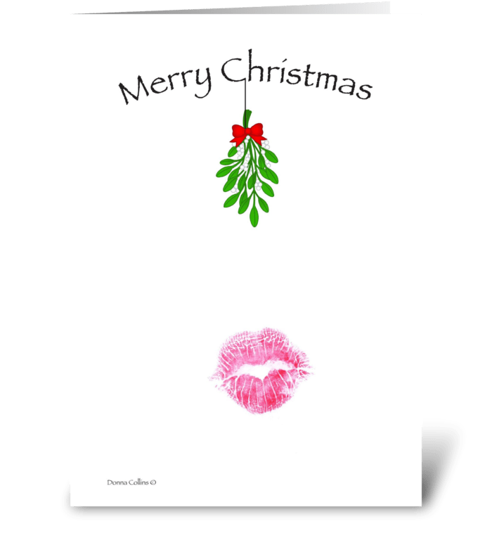 Christmas Mistletoe Kiss greeting card