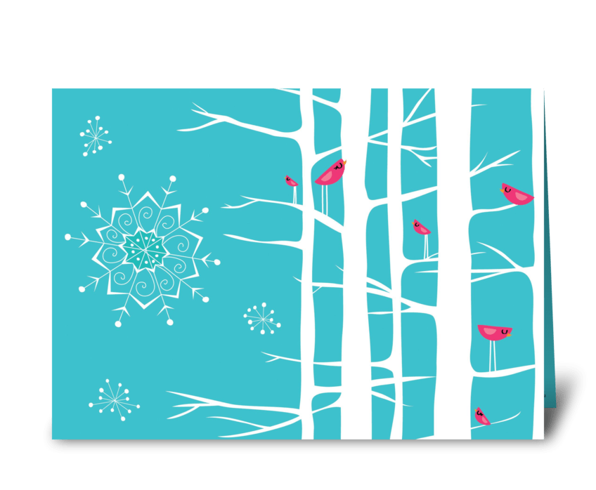 Winter Wonderland Trees Teal/Pink greeting card