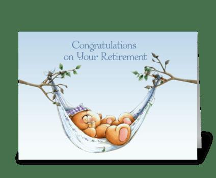 Retirement Bear, Hammock greeting card