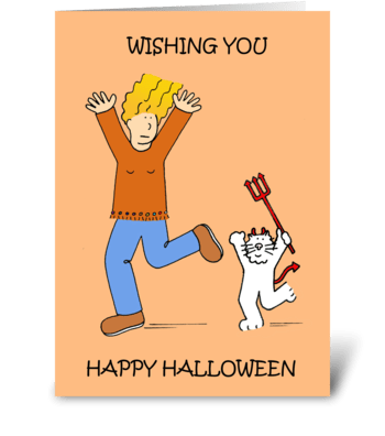 Happy Halloween, Cartoon Cat. greeting card