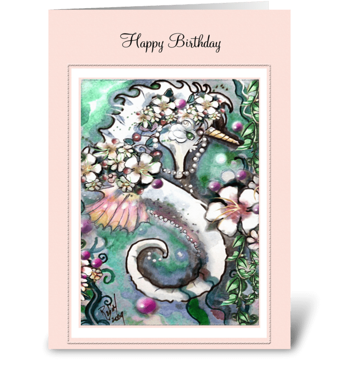 Seaworthy Unicorn, Birthday Greetings greeting card