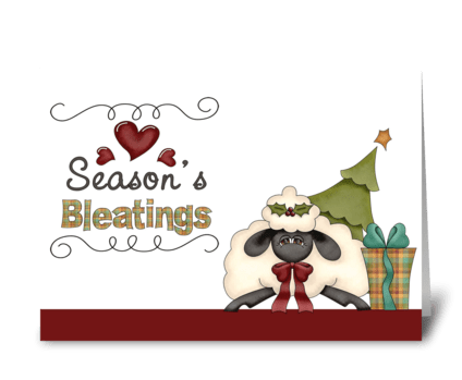 Seasons Bleatings Christmas Sheep greeting card