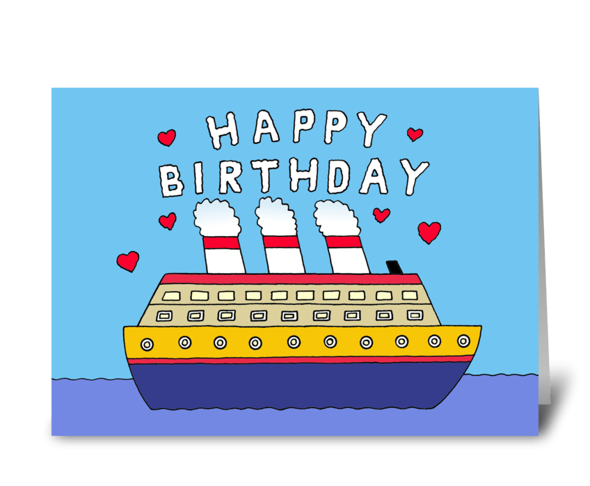 Cruise Ship Happy Birthday greeting card