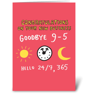 Goodbye 9-5 Entrepreneur Card greeting card