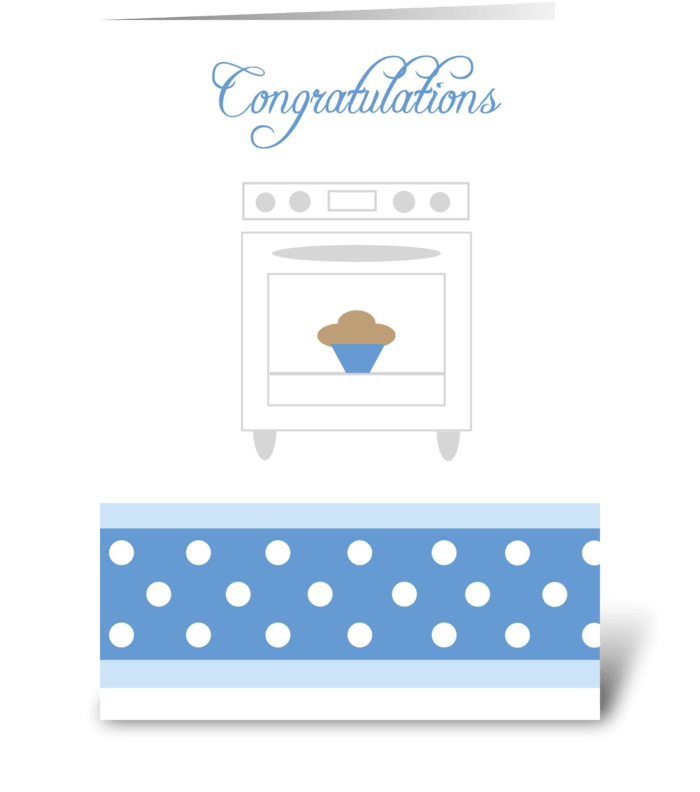 Bun in the oven Blue greeting card