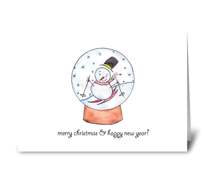 Snow Globe Skier  greeting card