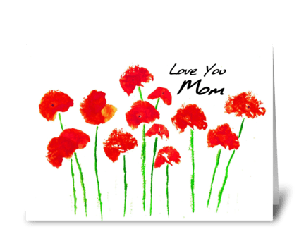 Red Poppies for Mom greeting card