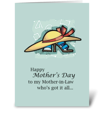 Mother-in-Law Hat Sandals Mother's Day   greeting card