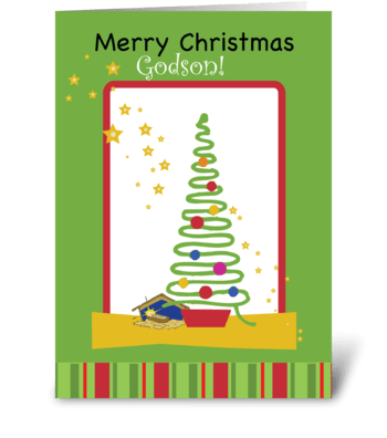 Godson Stars Christmas Tree greeting card