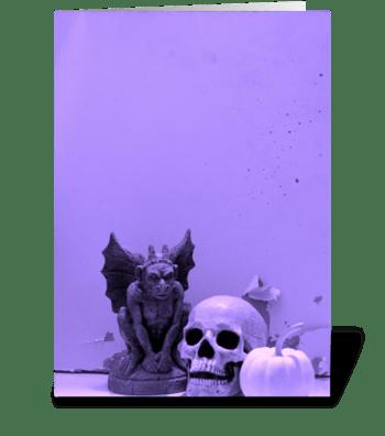 Gargoyle, Skull, & Pumpkin greeting card