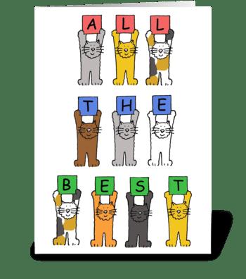 A wonderful retirement cute cartoon cats greeting card