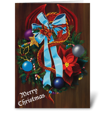 Christmas Wreath Dragon greeting card