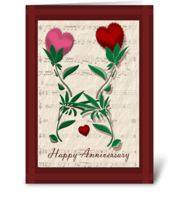 Dancing Hearts, Anniversary greeting card