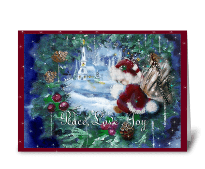 Little White Church, and faery in wreath greeting card