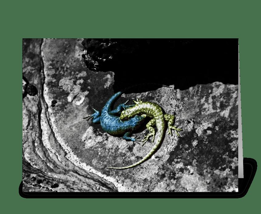 Yin Yang Lizards greeting card