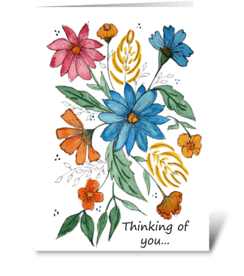 Thinking of You Floral Watercolor  greeting card