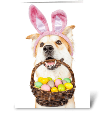 Dog Easter Bunny Carrying Basket of Eggs greeting card