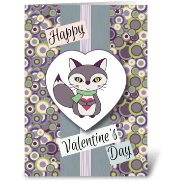 Fox Holding Heart - Valentine's Day greeting card