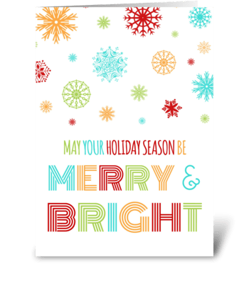 Colorful Merry & Bright Christmas Card greeting card