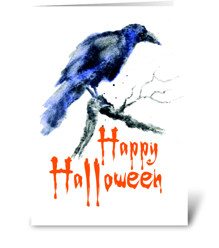 Raven of Halloween greeting card