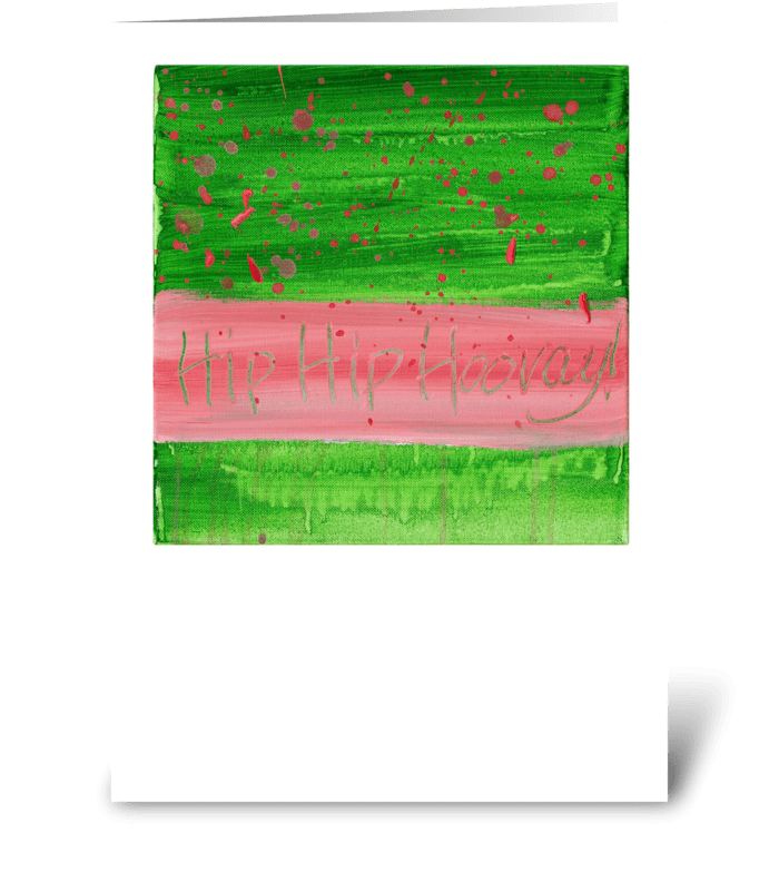 Hip Hip Hooray! - Pink on Green greeting card