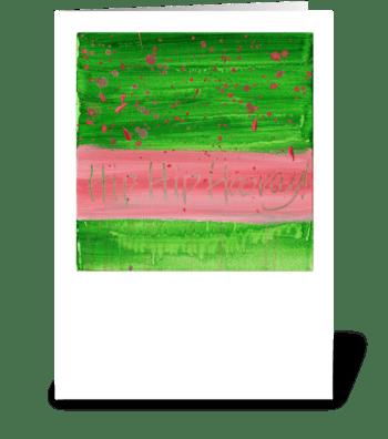 Hip Hip Hooray! - Pink on Green greeting card