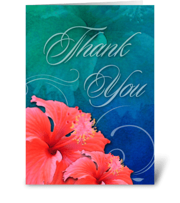 Hibiscus Thanks greeting card