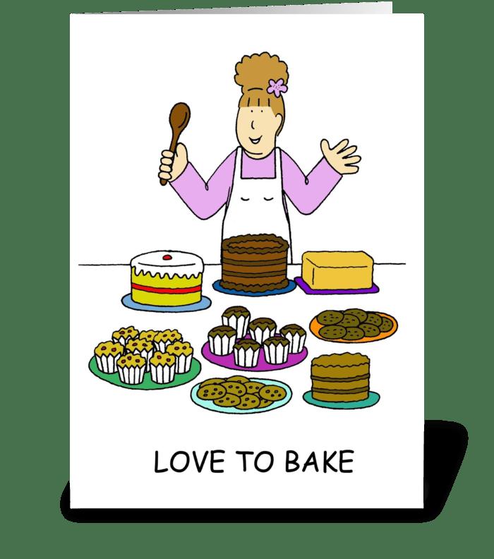 Love to Bake Lady Baking greeting card