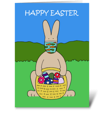 Covid 19 Happy Easter Bunny in Face Mask greeting card