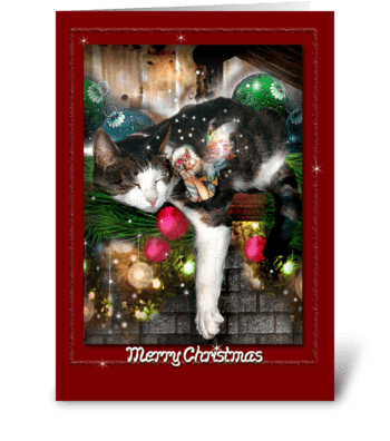 Christmas Fairy and Cat greeting card