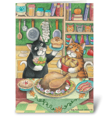 Happy Thanksgiving Feast Cats #23 greeting card