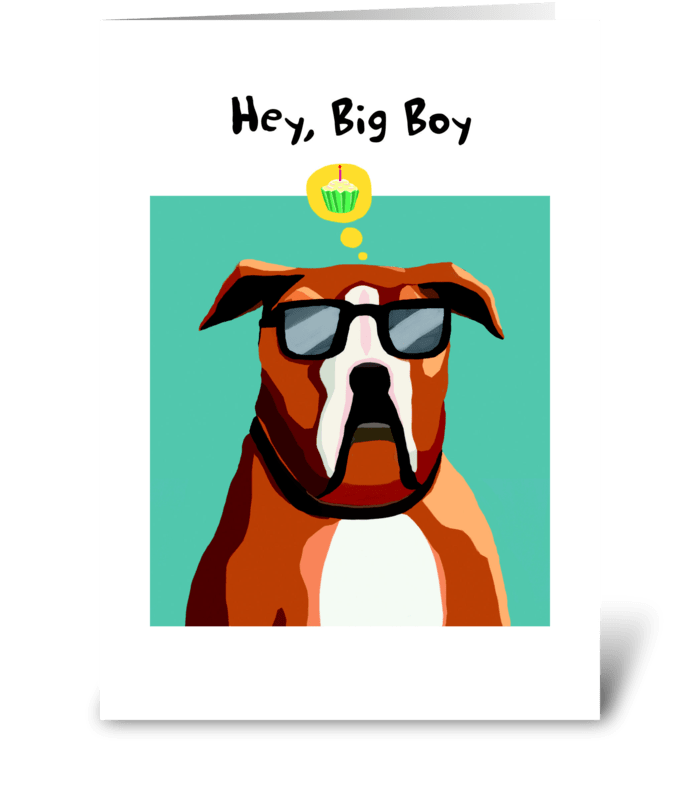 Boxer Birthday greeting card