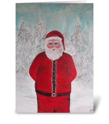 Ho Ho Ho MERRY CHRISTMAS SANTA art greeting card
