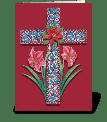 Christmas Cross with Amaryllis  greeting card