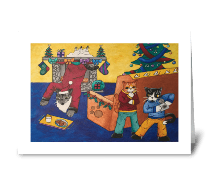 Christmas Santa Surprise Cats greeting card
