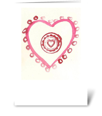 Watercolor - Heart with Circles 2 greeting card