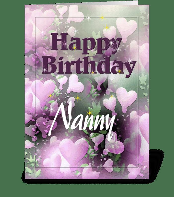 Happy Birthday Nanny, Pretty hearts greeting card