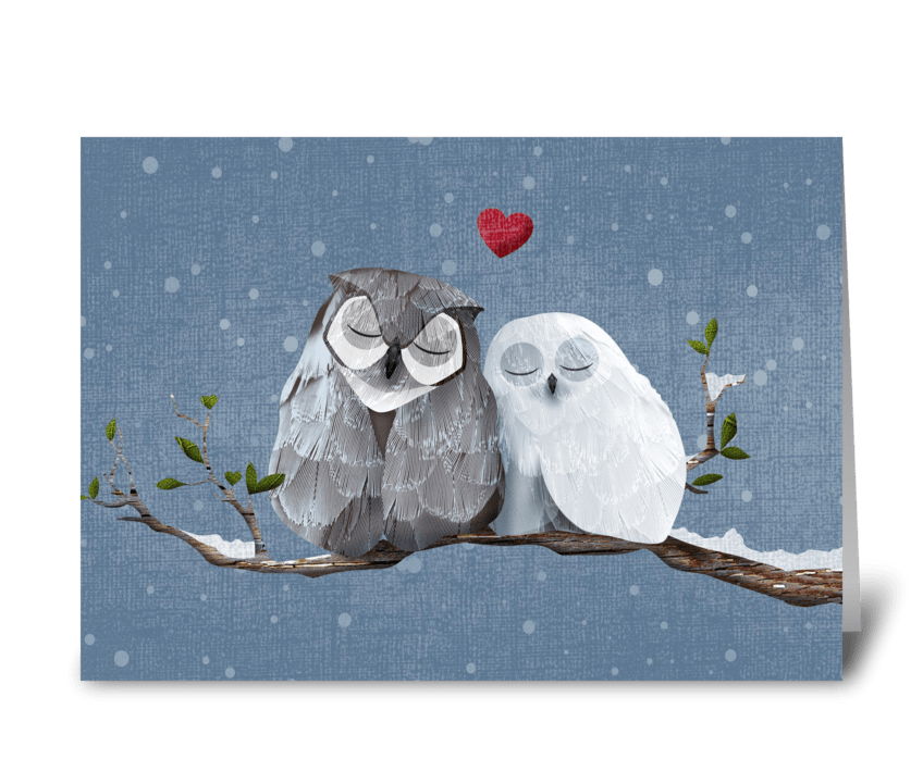 Love Owls Valentine or Anniversary Card greeting card