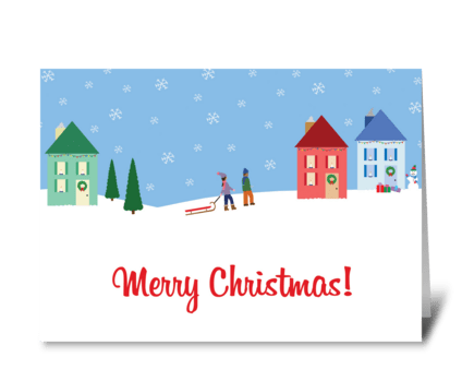 Christmas Cottage Scene greeting card