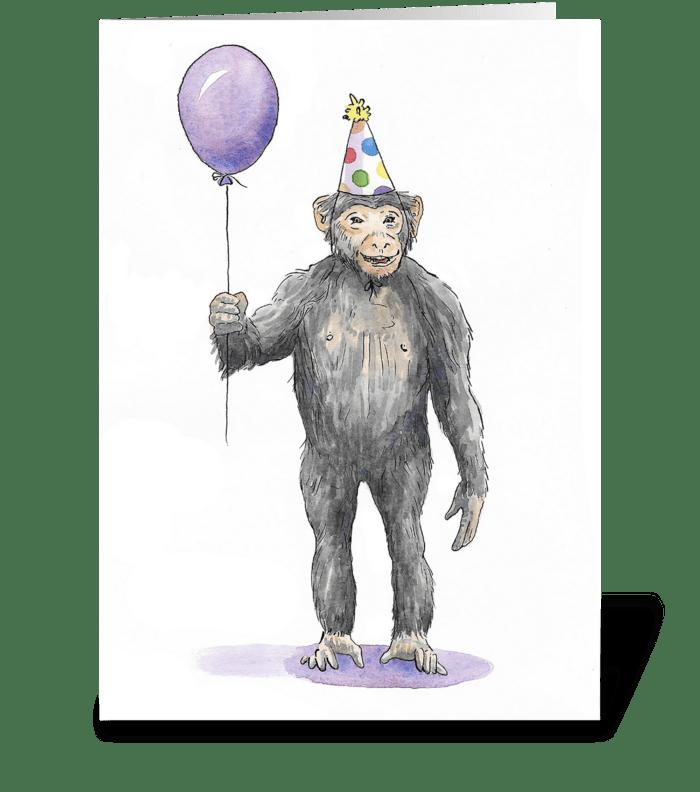 Monkey Party Animal greeting card