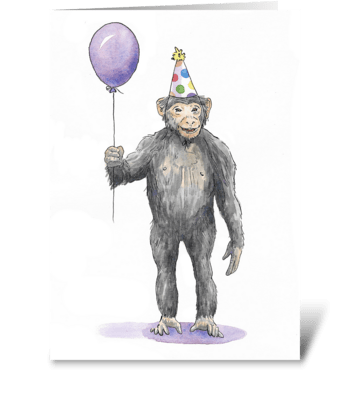 Monkey Party Animal greeting card