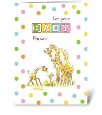 Baby Shower Giraffe Family, Congratulate greeting card