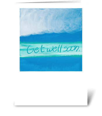 Get Well Soon - Green on Blue greeting card
